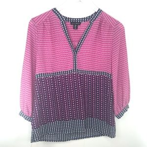 Willi Smith Career Blouse Small Navy & Pink